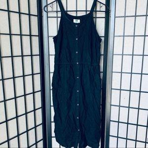 Old navy black button down midi linen blend dress